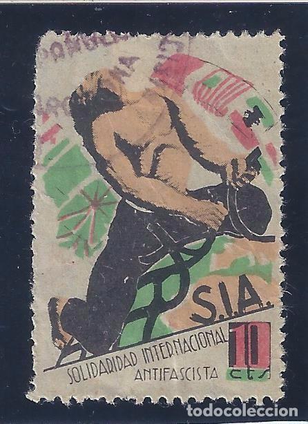 SOLIDARIDAD INTERNACIONAL ANTIFASCISTA (S.I.A.). 10 CTS. (Sellos - España - Guerra Civil - Viñetas - Usados)