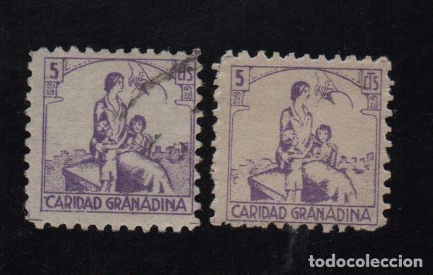 GRANADA, 5 CTS,VIOLETA Y LILA, CARIDAD GRANADINA, ALLEPUZ Nº 21-22, VER FOTO (Sellos - España - Guerra Civil - De 1.936 a 1.939 - Usados)