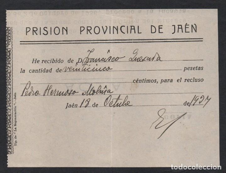 JAEN, PRISION PROVINCIAL, 25 PTAS. PARA EL RECLUSO....... FECHA: 18 OCTUBRE 1937, REPUBLICA, VER FOT (Sellos - España - Guerra Civil - Locales - Usados)