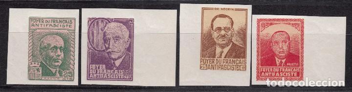 SERIE COMPLETA - FOYER DU FRANÇAIS ANTIFASCISTE - SIN DENTAR (Sellos - España - Guerra Civil - De 1.936 a 1.939 - Nuevos)