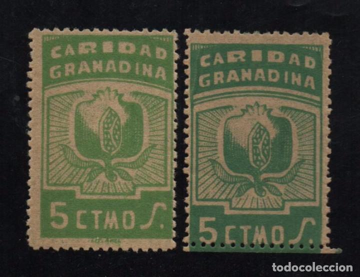 GRANADA, 5 CTS, DOS TONOS DISTINTOS,- CARIDAD GRANADINA, VER FOTO (Sellos - España - Guerra Civil - De 1.936 a 1.939 - Usados)