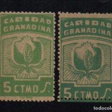 Sellos: GRANADA, 5 CTS, DOS TONOS DISTINTOS,- CARIDAD GRANADINA, VER FOTO. Lote 103568547