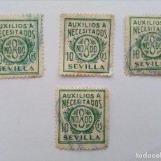 Sellos: SEVILLA, LOTE 4 SELLOS AUXILIOS A NECESITADOS 10 CENTIMOS, NODO, SELLO. Lote 103699531