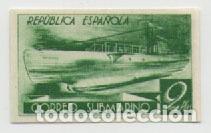 GUERRA CIVIL, CORREO SUBMARINO 1938. VARIEDAD DE COLOR, 2 PTAS VERDE AMARILLENTO. NUEVO, SIN GOMA. (Sellos - España - Guerra Civil - De 1.936 a 1.939 - Nuevos)