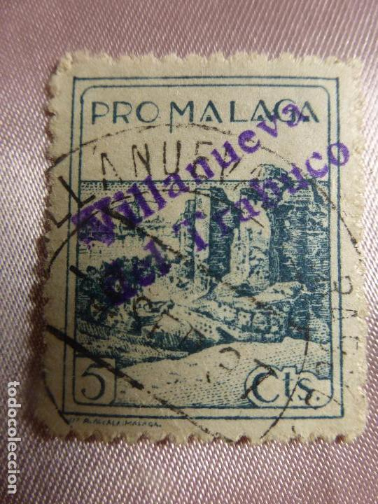 SELLO BENEFICIENCIA PRO-MALAGA SOBRECARGADO VILLANUEVA DEL TRABUCO - SELLO ESPAÑOL GUERRA CIVIL (Sellos - España - Guerra Civil - Beneficencia)
