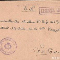 Sellos: CARTA GUERRA CIVIL MATASELLO GRUPO SANIDAD MILITAR DE LEON COMPAÑÍA DE HOSPITALES CENSURA CORUÑA. Lote 103883335
