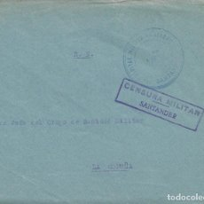 Sellos: CARTA GUERRA CIVIL MATASELLO HOSPITAL MILITAR CANTABRO SANTANDER CENSURA A LA CORUÑA. Lote 103884147