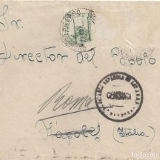 Sellos: CARTA COMANDANCIA MILITAR FUENTES DE EBRO ZARAGOZA CENSURA BANDERA FALANGE 1937 ITALIA. Lote 103885891