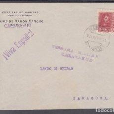 Sellos: ,,,31 FRAGMENTO CALATAYUD A ZARAGOZA. CENSURA MILITAR CALATAYUD Y ¡VIVA ESPAÑA!, FRANQUEO 844. Lote 103972363