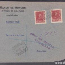 Sellos: ,,,32 FRAGMENTO CERTIFICADO CALATAYUD A ZARAGOZA. CENSURA MILITAR CALATAYUD, FRANQUEO 844(2). Lote 103972651