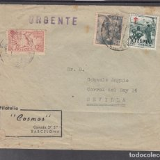 Sellos: ,,,33 SOBRE BARCELONA A SEVILLA URGENTE AL DORSO MADRID URGENTE TRANSITO Y CARTERIA URGENTE SEVILLA+. Lote 103973175