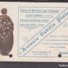 Sellos: ,,,39 TARJETA RODILLO SEVILLA A ALGECIRAS (CADIZ), FRANQUEO 657, PUBLICIDAD FABRICA MANTONES +. Lote 103978931