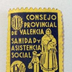 Sellos: VIÑETA GUERRA CIVIL. CONSEJO PROVINCIAL VALENCIA. SANIDAD Y ASISTENCIA SOCIAL. 15 CTS.. Lote 104011035