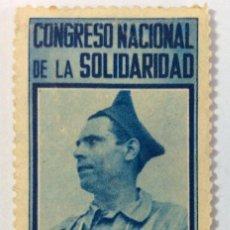 Sellos: VIÑETA GUERRA CIVIL. CONGRESO NACIONAL DE LA SOLIDARIDAD. 1938. DURRUTI. 25 CTS. Lote 104014555