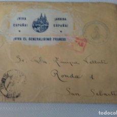 Sellos: SOBRE PATRIOTICO RARO MATASELLO 112 REGIMIENTO DE ARTILLERIA LIGERA DIRIGIDA A SAN SEBASTIAN . Lote 104023191