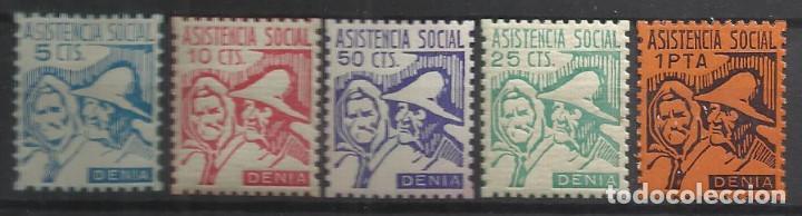 5843-LOTE SELLOS DENIA LOCALES ESPAÑA GUERRA CIVIL DENIA ALICANTE SERIE ASISTENCIA SOCIAL.NUEVOS*,VE (Sellos - España - Guerra Civil - Locales - Nuevos)
