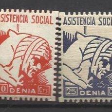 Sellos: 5846-LOTE SELLOS DENIA LOCALES ESPAÑA GUERRA CIVIL DENIA ALICANTE SERIE ASISTENCIA SOCIAL.NUEVOS*,VE. Lote 104073155