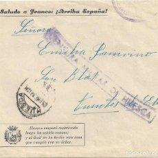 Sellos: CARTA GUERRA CIVIL HUESCA SOBRE ILUSTRADO CENSURA MILITAR FUENTES EBRO ZARAGOZA. Lote 104096935