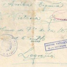 Sellos: CARTA BATALLON RESERVA 51 MARCA CENSURADO ROJO CENSURA MILITAR A LOGROÑO. Lote 104097219
