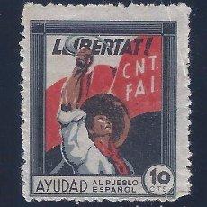 Sellos: C.N.T. - F.A.I. LLIBERTAT. AYUDAD AL PUEBLO ESPAÑOL. MNH **. Lote 104319491