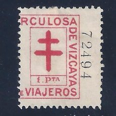 Sellos: VIÑETA GUERRA CIVIL. CAMPAÑA ANTITUBERCULOSA DE VIAJEROS DE VIZCAYA. 1 PTA.. Lote 104367271