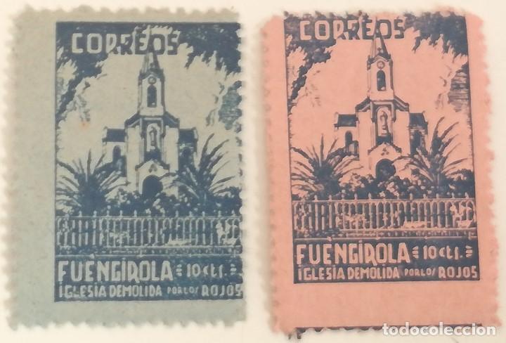 LOTE 2 SELLOS 10 CÉNTIMOS. FUENGIROLA. GUERRA CIVIL. 1936-39. ESPAÑA. BANDO NACIONAL. SIN CIRCULAR. (Sellos - España - Guerra Civil - De 1.936 a 1.939 - Nuevos)