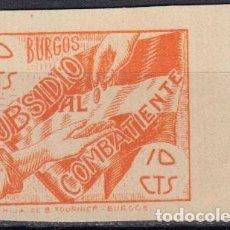 Sellos: WP617 ESPAÑA SPAIN GUERRA CIVIL SUBSIDIO COMBATIENTE BURGOS IMPRESO EN GOMA S/D. Lote 104767879