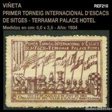 VIÑETA - 1º TORNEIG INTERNACIONAL D'ESCACS DE SITGES - PALACE HOTEL - 1932 - AJEDREZ