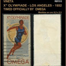 Sellos: VIÑETA - X OLYMPIADE LOS ANGELES - TIMED OFFICIALLY BY OMEGA - 1932 - OLIMPÍADA. Lote 104883651