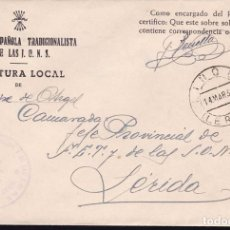 Sellos: F22-18-FALANGE.JEFATURA LOCAL BELLCAIRE DE URGEL.(LÉRIDA) MATASELLOS LIÑOLA. 1939. Lote 105044347