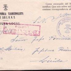 Sellos: F22-19-FALANGE.JEFATURA LOCAL MAYALS .(LÉRIDA). CENSURA ROJO LERIDA. 1939. Lote 105044459