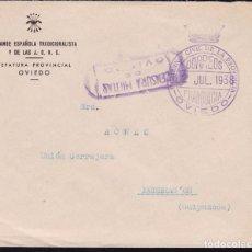 Sellos: F22-23-FALANGE.OVIEDO -MONDRAGÓN.JEFATURA PROVINCIAL. FRANQUICIA GOBIERNO CIVIL Y CENSURA 1938. Lote 105045063