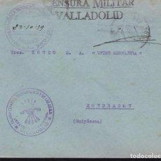 Sellos: F22-30-FALANGE.JEFATURA PROVINCIAL VALLADOLID. FRANQUICIA Y CENSURA 1939. Lote 105046131