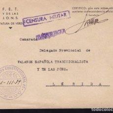 Sellos: F22-39-FALANGE. CARTA JEFATURA VERDÚ. FRANQUICIA, CENSURA Y LINEAL TARREGA 1939. Lote 105048131