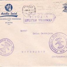 Sellos: F22-43-FALANGE. AUXILIO SOCIAL. ADMON. PROVINCIAL ALAVA. FRANQUICIA DE GUERRA Y CENSURA. 1938. Lote 105048651
