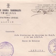 Sellos: F22-45-FALANGE.CARTA JEFATURA LOCAL BELLPUIG (LÉRIDA). FRANQUICIA AYUNTAMIENTO. Lote 105049087