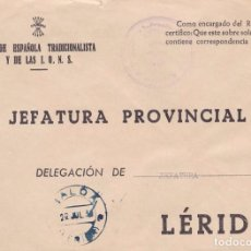 Sellos: F22-71-FALANGE .JEFATURA LOCAL MALDÁ LÉRIDA. FECHADOR AZUL TINTA ESCRIBIR . Lote 105052467