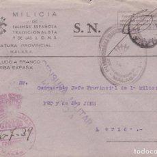 Sellos: F22-78-FALANGE . CARTA JEFATURA PROVINCIAL MALAGA. CENSURA Y FRANQUICIA 1939. Lote 105053003