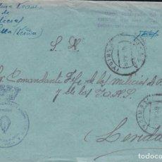 Sellos: F22-64-FALANGE.JEFATURA LOCAL VIELLA (LÉRIDA). FRANQUICIA 1939. Lote 105084287