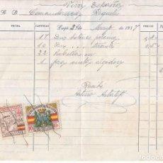 Sellos: CURIOSA FACTURA A COMANDANCIA DE REQUETÉS. CON SELLOS LOCALES DE LUGO Y DE GALICIA. 1937. RARA. Lote 105140863