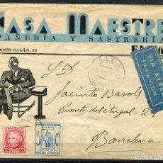 Sellos: SOBRE DE ELDA A BARCELONA CON LOCAL DE ALICANTE ALLEPUZ 1, 1936. Lote 105206527