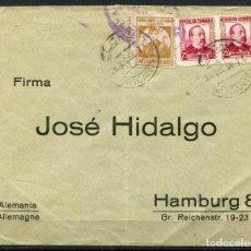 Sellos: SOBRE DE ELCHE A HAMBURGO CON LOCAL DE ALICANTE ALLEPUZ 2. Lote 105206807