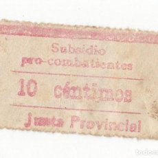 Sellos: SELLO DE SUBSIDIO PRO COMBATIENTES. 10 CÉNTIMOS ROJO. CREO QUE DE GUIPÚZCOA. RARO. Lote 105346847