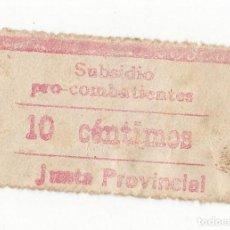 Selos: SELLO DE SUBSIDIO PRO COMBATIENTES. 10 CÉNTIMOS ROJO. CREO QUE DE GUIPÚZCOA. RARO. Lote 105346847