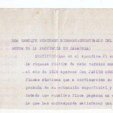 Sellos: FRAGMENTO DE DOCUMENTO DE GOTOR. CON SELLO LOCAL DE ZARAGOZA. VIEJA GUARDIA. RARO.. Lote 105347327