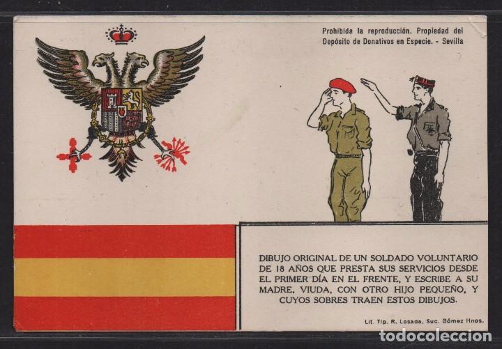 SEVILLA,- POSTAL, DEPOSITO DE DONATIVOS EN ESPECIE, VER FOTOS (Sellos - España - Guerra Civil - De 1.936 a 1.939 - Usados)