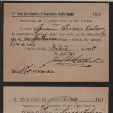 Sellos: SEVILLA, SOCORRO MUTUOS, 17 TERCIO GUARDIA CIVIL, AÑO 1937-38- VER FOTOS. Lote 105753519