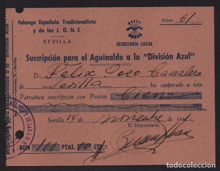 SEVILLA, 100 PTAS, - AGUINALDO A LA -DIVISION AZUL- SUSCRIPCION, AÑO 1941, VER FOTO (Sellos - España - Guerra Civil - De 1.936 a 1.939 - Usados)