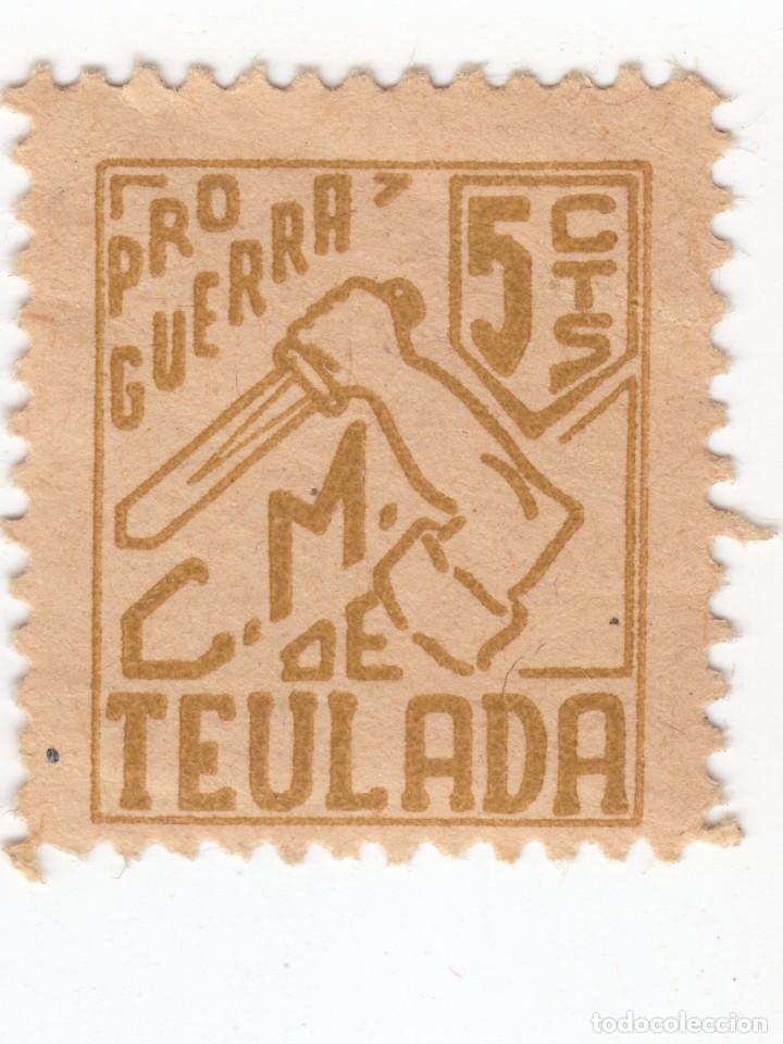 TEULADA (VALENCIA) SELLO PRO GUERRA C M DE TEULA. CONSEJO MUNICIPAL LOCAL 5 CTS. NUEVO CON GOMA (Sellos - España - Guerra Civil - De 1.936 a 1.939 - Usados)