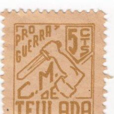 Sellos: TEULADA (VALENCIA) SELLO PRO GUERRA C M DE TEULA. CONSEJO MUNICIPAL LOCAL 5 CTS. NUEVO CON GOMA. Lote 105851887